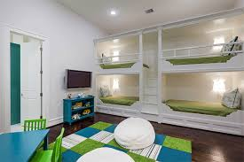 green blue white four beds kids bedroom