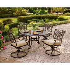 hanover traditions 5 piece patio outdoor dining set with 4 cushioned swivel chairs and 48 in