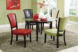 astounding round glass top dining tables with dark brown wooden based and colorful leather armless chair