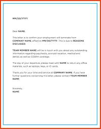 Letter Of Dismissal Template termination letter sop format example 90