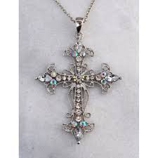 austrian crystal cross necklace item 10937 2 1 2 in x
