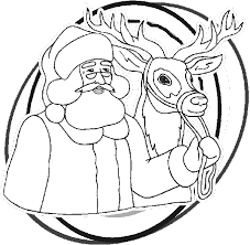 Small Picture Santa and Rudolph Coloring Book Page Santa and reindeer coloring