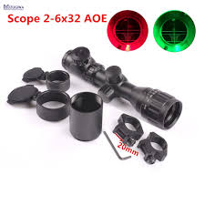 Hunting Rifle Scope <b>2</b>-<b>6x32 AOE</b> Red Green Mil-dot Short ...