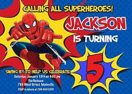 superheroes birthday party invitations spiderman superhero birthday party invitation ebay