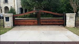 wood fence driveway gate. Contemporary Fence Wrought Iron Driveway Gate Intended Wood Fence