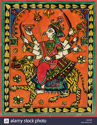 rajasthani indian folk art ilration of dess durga with eight hands holding sword sitting on tiger