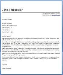 Cover Letter Mechanical Designer Sample Cover Letter For