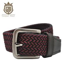 casual elastic braided men belts woven stretch belt with genuine leather tip head black red mens belts