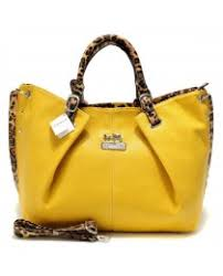Coach Madison Leopard Large Yellow Satchels ACM ...