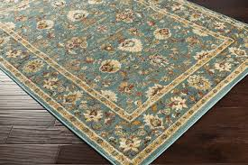 surya nicea 5 3 x7 3 area rug teal metallic gold traditional area rugs by gwg