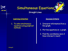 10 aug 15 learning intention success criteria 1 to solve simultaneous equations using