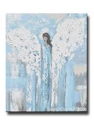 giclee print angel painting abstract light blue guardian angel home decor spiritual wall art canvas print on spiritual wall art uk with art angel painting abstract blue white guardian angels canvas wall