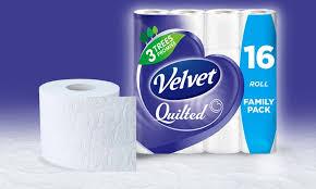 Velvet Quilted 3-Ply Toilet Tissue | Groupon Goods & Groupon Goods Global GmbH: 16, 32, 64 or 128 Rolls of Velvet White Adamdwight.com