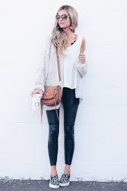 save this how to style leather leggings outfits chunky knit cardigan and moto leather