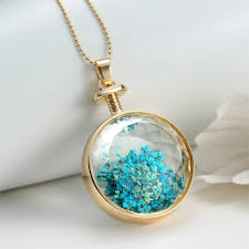 super dazzling vintage blue dried flowers transpa glass pendant with long gold chain canrees com