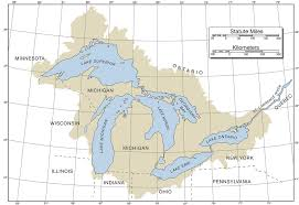 Map Of The Great Lakes With Latitude Longitude And Basin