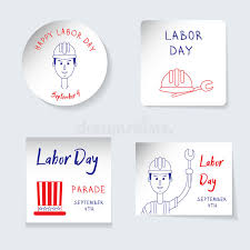 labor day theme labor day theme set of stickers banners of different shapes round
