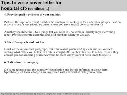 4 tips to write cover letter for hospital cfo cfo cover letter