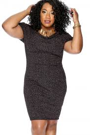 Sexy Pink Black Glitter Short Sleeve Knee Length Plus Size Party Dress