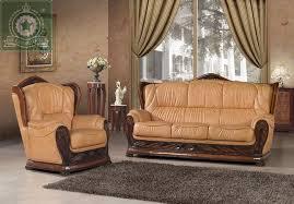 high quality living room furniture european antique leather sofa