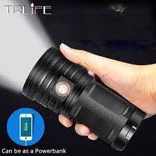 72000 Lums LED Lanterna 18 * T6 LED El Feneri Torch 3 Modları USB Şarj  Linterna Lamba Taşınabilir Projektör Güç Bankası Işık Luckorigins.news
