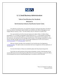 Sic Code Chart Sba Size Standards Naics Association