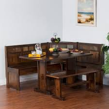 Comfy Corner Breakfast Nook Wood Dining Set Country Kitchen Table Booth  Seating pertaining to Rustic Kitchen