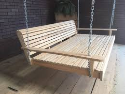 6ft wooden swing bed cypress unfinish wood heavy duty chains free