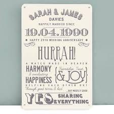 10 elegant 25th anniversary gift ideas for wife personalised silver wedding anniversary metal print wedding