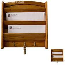 wall mount letter holder mail key sort rack wood storage box home organizer