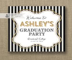 Gold Glitter Welcome Sign Black White Stripe Graduation Party
