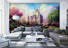 disney wallpaper for bedrooms. 3d tinkerbell fairy castle wall paper rainbow disney princess wallpaper decals art print for bedrooms r