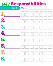 To Do List Charts Daily Responsibilities Chart For Kids Free Printable To Help