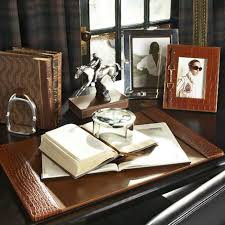 limited ion design stock luxury ralph lauren saddle brown crocodile embossed leather desk pad 27 x 17 inches partner desk set items available