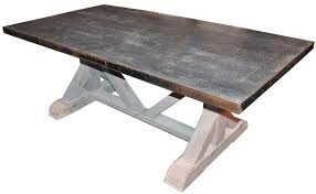 tables madison table x: pounded zinc x base table zinc table as seen on houzz
