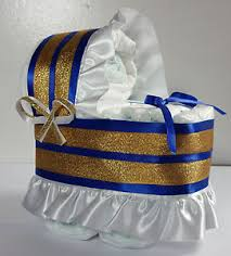 Diaper Cake Beautiful Bassinet Carriage Baby Shower Gift For Boys