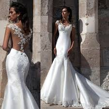 sexy fitted mermaid cap sleeve see through back satin bridal