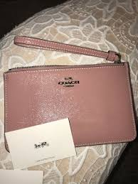 95 new coach f32016 small zip wristlet wallet patent leather dusty rose pink nr