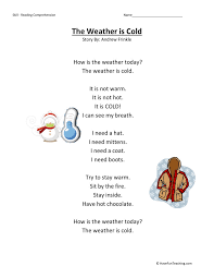 Comprehension Worksheet - Weather is Cold