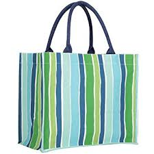 Rock Flower Paper Rock Flower Paper Fashion Market Totes Savannah Blue Stripe