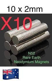 10 piece N52 <b>10X2mm</b> Super <b>Strong</b> Round Disc Fridge Rare Earth ...
