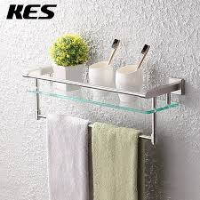 kes a2225 2 sus304 stainless steel bathroom glass shelf wall mount with towel bar inspirations