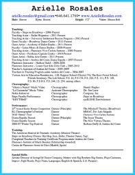 Dance Resume The Best and Impressive Dance Resume Examples Collections 59