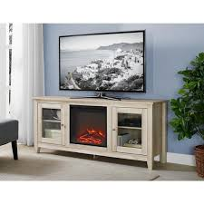 58 in wood media tv stand console electric fireplace in white oak