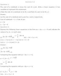 compare two pdf math solutions for class 9 maths chapter 4 linear equations in two variables