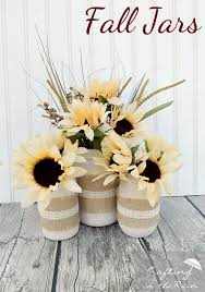 fall jars with dollar flowers