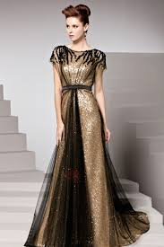 Charming Sequins Court Train Short Sleeves Floor Length Evening
