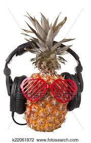 pineapple with sunglasses clipart. stock photo - pineapple with plastic sunglasses and headphones. fotosearch search photography, clipart