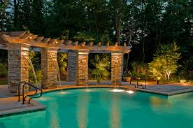 amazing outdoor lighting. exellent amazing fascinating outdoor lighting for pool area with concrete fountains in amazing