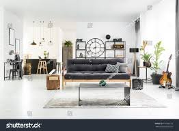cool couches for man cave. Black And White Stylish Man Cave Interior With Industrial Table, Couch Home Bar In Cool Couches For